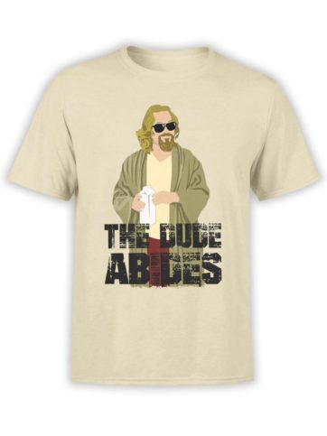 0286 Big Lebowski T Shirt The Dude Abides Front Black